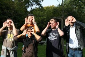 Italian Deafblind group showing what Deafblindness can be - one eye and one ear
