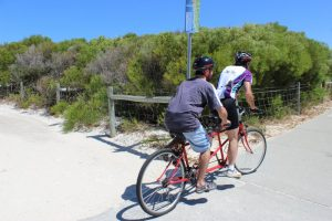 Roberto and WATCAC club member tandem cycling in November 2014