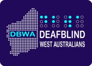DBWA Logo. Map of WA as dots with DBWA as Braille dots and the words Deafblind West Australians under the Braille as white words and images on a Navy background